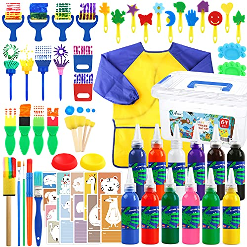 Washable Finger Paint Set, 64Pack Washable Kids Paint Set with 12 Color Finger Paints, Sponges, Paint Brushes, Waterproof Paint Smock, Palettes, Cards, Storage Box for Toddler Early Learning Kids.