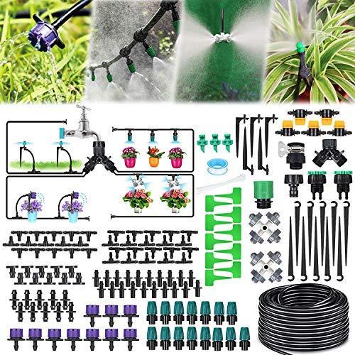 Jeteven 40M Bewässerungssystem Garten,163Pcs Mikro Drip Bewässerungssets, Automatik Tröpfchenbewässerung Gartenbewässerung Misting Kühlsystem für Garten Zimmerpflanzen Gewächshäuser Blumenbeete