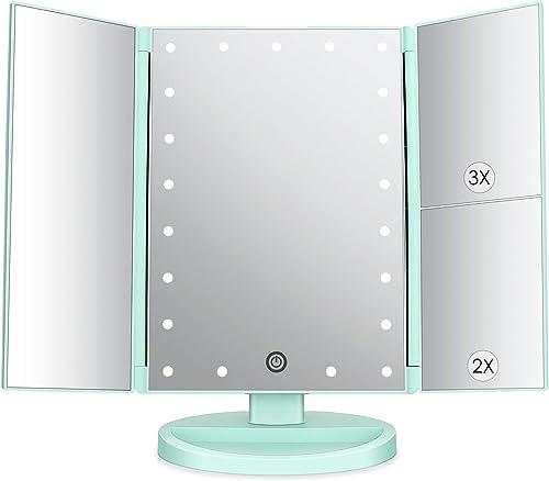 Specchio Trucco con 21 LEDs, Specchio di Vanity Trifold Ruota di 180° Ingrandimento 1x / 2X / 3X Specchio per Il con ...
