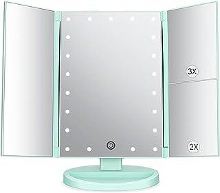 Espejo de Maquillaje con LED, Iluminado Espejo de Mesa Luz con Ampliación 1X / 2X / 3X Plegable Espejo de la Vanidad Rotac...