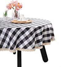 Nobildonna 55Inch Gingham Checkered Tablecloth, Black & White Checker, Round Lace Polyester Tablecloth