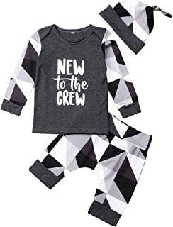KONIGHT Kids Infant Baby Boys Fall Outfits Long Sleeve New to The Crew Shirt+Geometric Pants 3Pc Winter Clothes Set