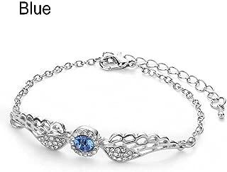 Brosco Fashion Jewelry Rhinestone Women Cuff Wing Bangle Chain Angel Wings Bracelet Popular Charms Bracelets Accessory Accesories Jewerly | Color - Blue