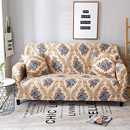 QRTQ Funda de sofá Fundas para sillas Poliéster Elástica Fundas sillas Impresión Elástica Funda para Sofá Chaise Longue en Forma de L (marrón,2 plazas: 145-185cm)