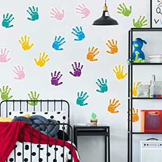 """Colorful Handprints Wall Decals 3.5"""" 42pcs - Rooms and Stickers"""