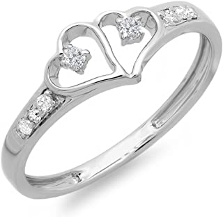 0.15 Carat (ctw) Round White Diamond Ladies Promise Double Heart Love Engagement Ring, Sterling Silver