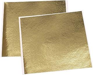 VGSEBA Imitation Gold Foil Sheets-100 Pieces Antique Gold Metal Leaf Papers for Gilding Crafts, Furniture Decorations, Art...