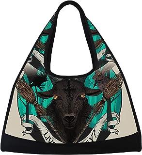 LORVIES Goat Duffle Bag Shoulder Handy Sports Gym Bags Tennis Badminton Racket Bag for Men and Women