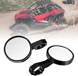 """UTV Mirrors Side View, kemimoto Heavy Duty Aluminium Alloy Adjustable Side-by-Side Rearside Clear-View Mirror with 2"""" Clamps Compatible with Polaris RZR, Kawasaki, Kubota, Can Am (NOT X3 MODELS)"""