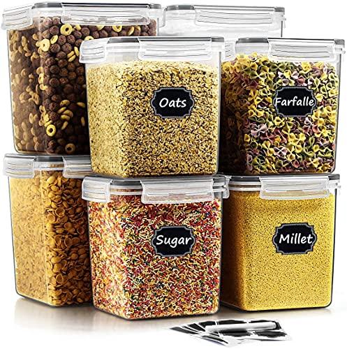 Wildone Frischhaltedosen, luftdicht, 8 Stück, BPA-frei, Müsli-Aufbewahrungsbehälter für Zucker, Mehl, Snack, Backzubehör, mit 20 Kreidetafel-Etiketten und 1 Kreidemarker