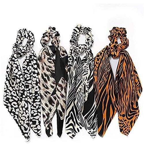 Moter Estampado Leopardo de Pelo Scrunchies Bufanda, Bowknot Scrunchies Arco de la Cinta, Cabello Scrunchy Lazos del Pelo Largo de satén de Seda, para la Mujer Las niñas, de 4 PC