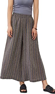 Les umes Ladies Womens Casual Loose Linen Elastic Waist Relaxed Trousers Cropped Wide Leg Culottes Pants US S-3XL US 6-18
