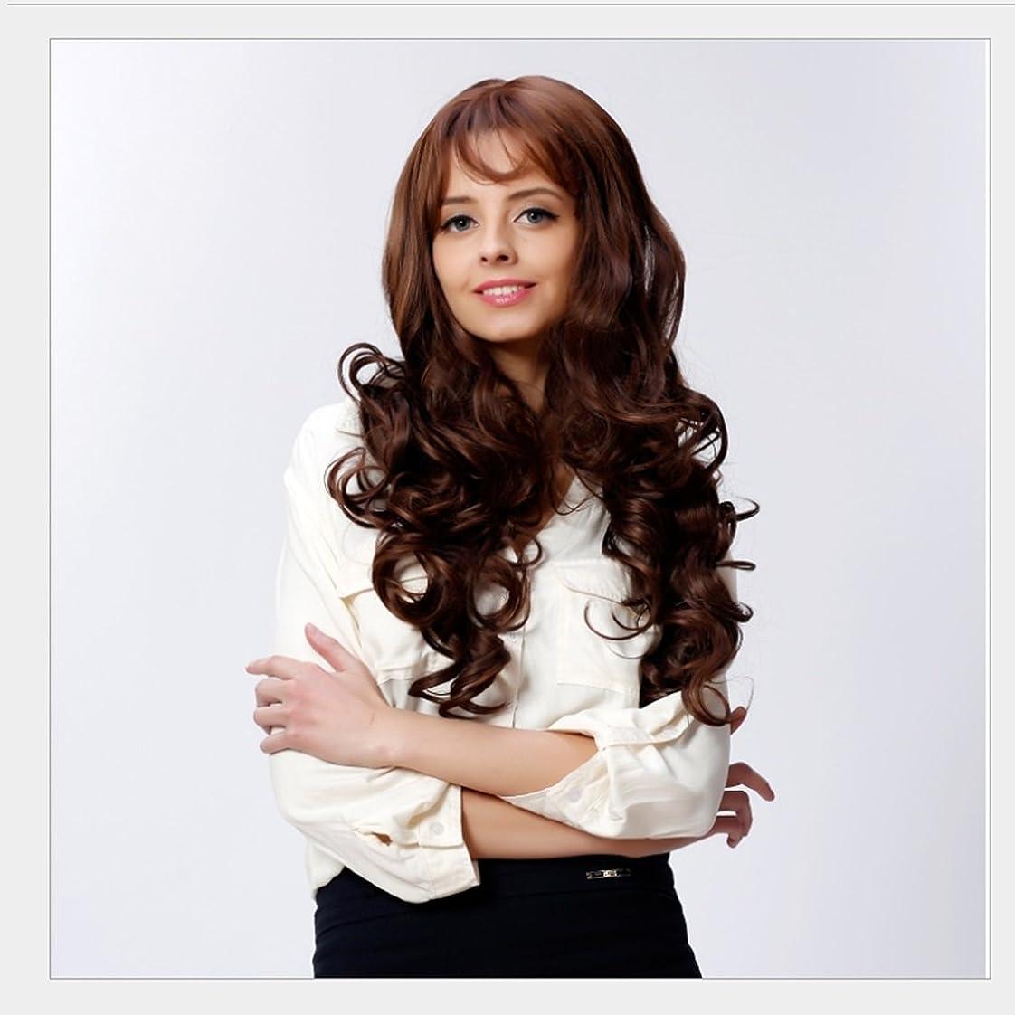 JIANFU 女性のための現実的な大きな波状の長い縮毛のかつらフルサイズの頭のカーリーヘアフラフリな梨のフラワーウィッグ修正された顔の長さ21inch / 22inch(ブラウンブラック/ベージュ)のための斜めバンズウィッグ (Color : Brownish black)
