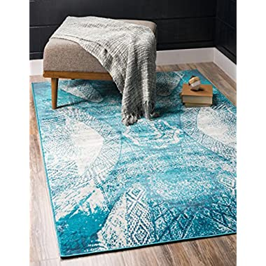 Unique Loom Sofia Collection Traditional Vintage Turquoise Home Décor Area Rug (4' x 6')
