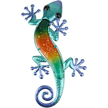 Metal wall brackets wall decorations lizard salamander gecko gekko blue head