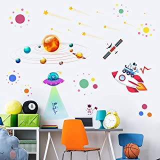 Planets Space Rocket UFO Kids Wall Decals Wall Stickers - Removable Solar System Watercolor Space Wall Stickers for Wall Decor for Boys Room Art