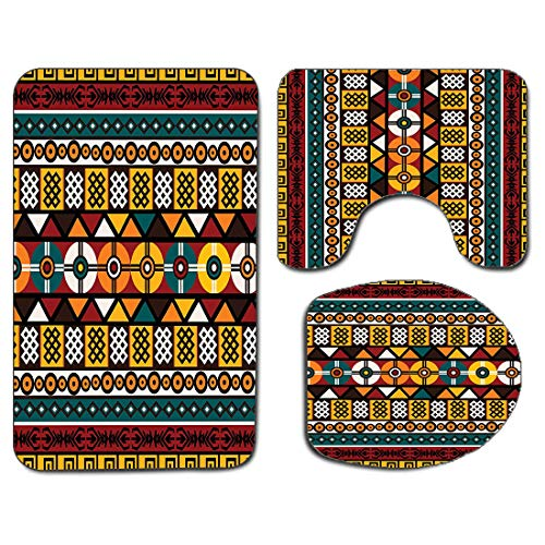 3Pcs Non-Slip Bathroom Rug Toilet Seat Lid Cover Set Kente Pattern Soft Skidproof Bath Mat Vertical Borders Inspired by Primitive African Cultures Geometrical Design,Multi Absorbent Doormat Bedroom Li