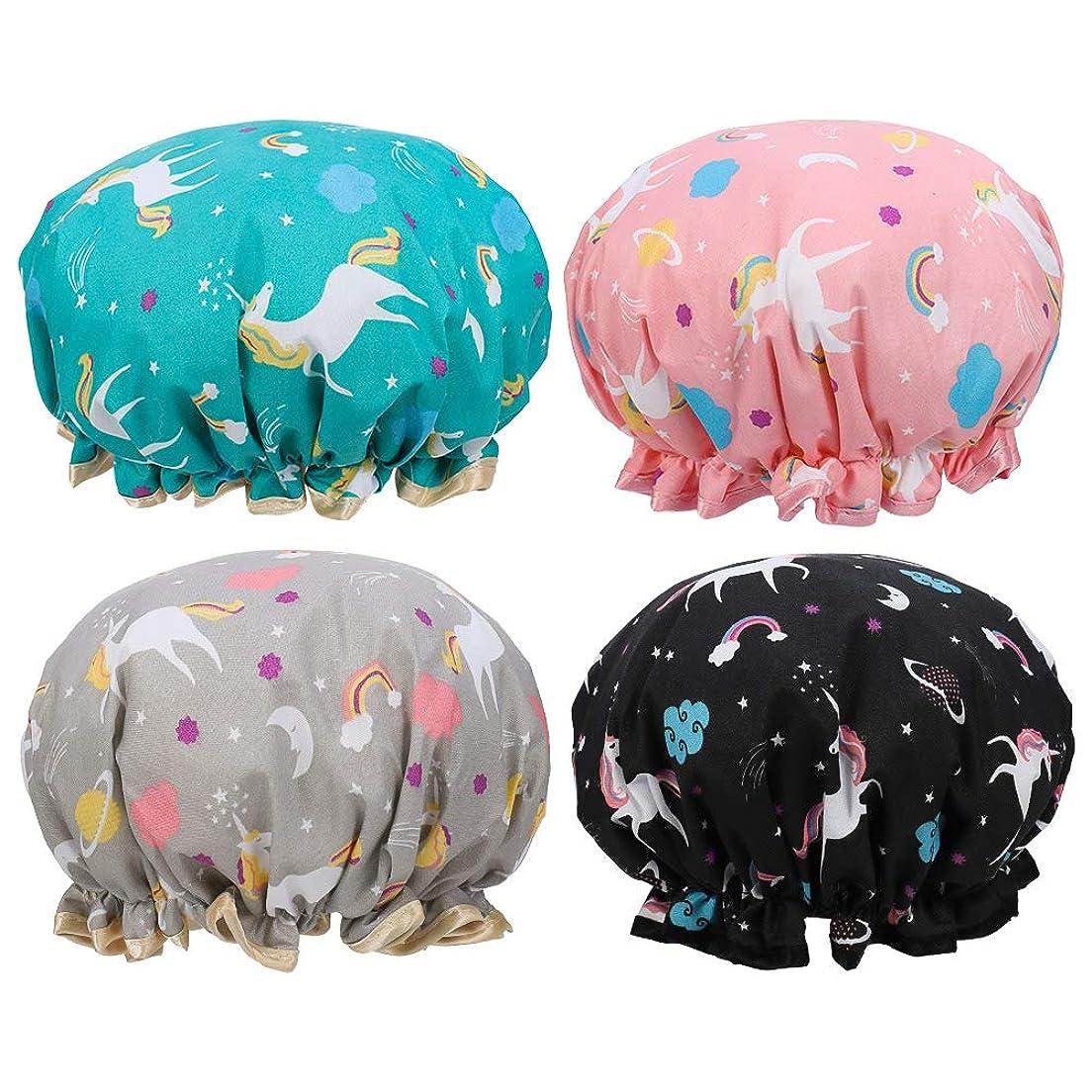 衝突する夜の動物園神話LORAER Qianer シャワーキャップ 4個セット ヘアキャップ ヘアーキャップ ヘアーターバン 入浴キャップ 帽子 お風呂 シャワー用に 浴用帽子 防水 便利 女性 弾性 再使用可能