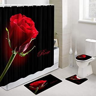 NYMB Girl Friend Valentine's Day Bathroom Shower Curtain and Rug Set, Red Rose Flower in Black for Romantic Love Polyester Fabric Shower Curtain, Non-Slip Contour Mat Toilet Cover Bath Mats, 4PCS