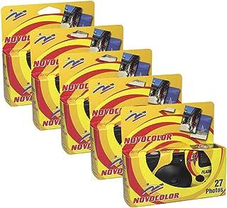 Novocolor - Cámaras deshechables con Flash (27 exposiciones con Flash) 5 Unidades …