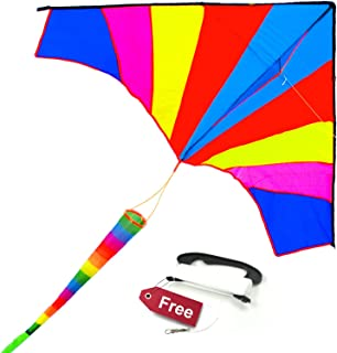 ALLON Rainbow Delta Kite for Kids & Adults, Easy to Assemble and Fly Large Beach Toy Kite for Boys & Girls, Giant Size 60 x 80 Inches, Bonus with 330' String Line