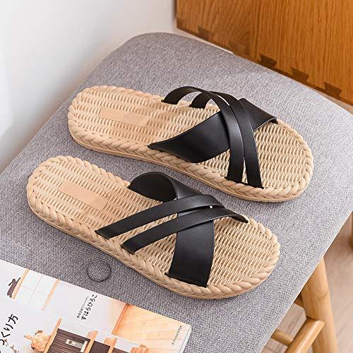 B/H Cozy Dusch- & Badeschuhe,Damen tragen rutschfeste Flip-Flops mit flachem Boden und schwarzen A_40-41,Pool Slide Dusch-& Badeschuhe