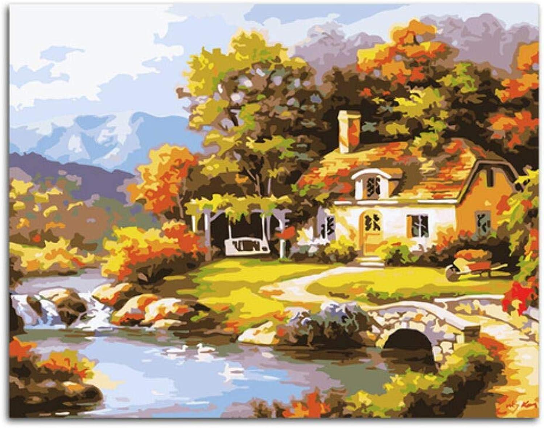 Agolong Märchenland Landschaft DIY Malen Nach Zahlen Kits Zeichnen Malen Nach Zahlen Acrylfarbe Pintura Auf Leinwand Für Raumgrafik Frameless 40x50 cm B07P6BNLDZ | Hochwertige Produkte