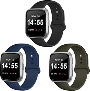 YOUKEX 3 Pack Silicone Sport Bands Compatible with Fitbit Versa 2 / Fitbit Versa/Versa Lite/Versa SE, Classic Soft Silicone Replacement Wristbands for Fitbit Versa Smart Watch Women Men
