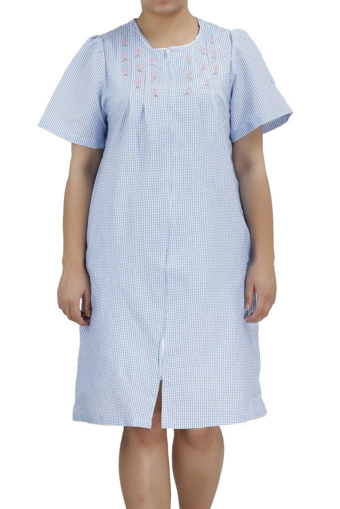 Available at Amazon: Ezi Women's Duster4 Short Sleeve Zip Up Cotton House Dress