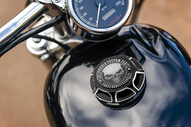 argent Bouchon dhuile de r/éservoir de gaz de carburant en aluminium CNC avec filets /à droite pour Harley Davidson 1996-2020