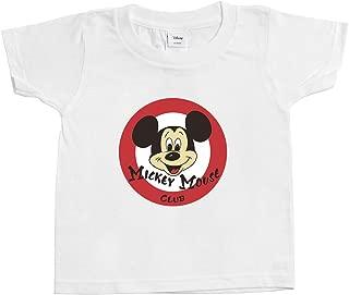 [Chara Park] ミッキーマウス レトロ プリントTシャツ キッズ 100 120 ホワイト グレー