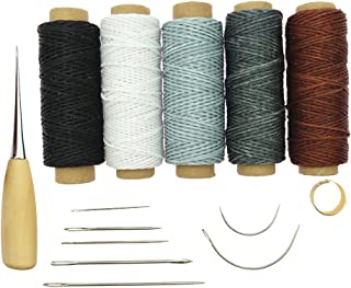 HOMYL 14 Pieces Curved Upholstery Hand Sewing Needles with Leather Waxed Thread Cord Drilling Awl and Thimble for Leather Repair