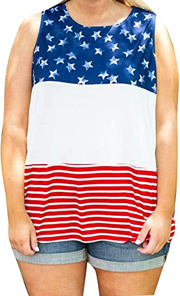 Staron Womens American Flag Tank Top 4th Of July T Shirt Sleeveless Tee USA Patriotic Summer Blouse Loose Tops