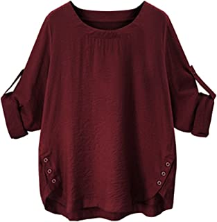 iTLOTL Women O Collar Loose Girl 3/4 Long Sleeve Autunm Plus Size Shirt