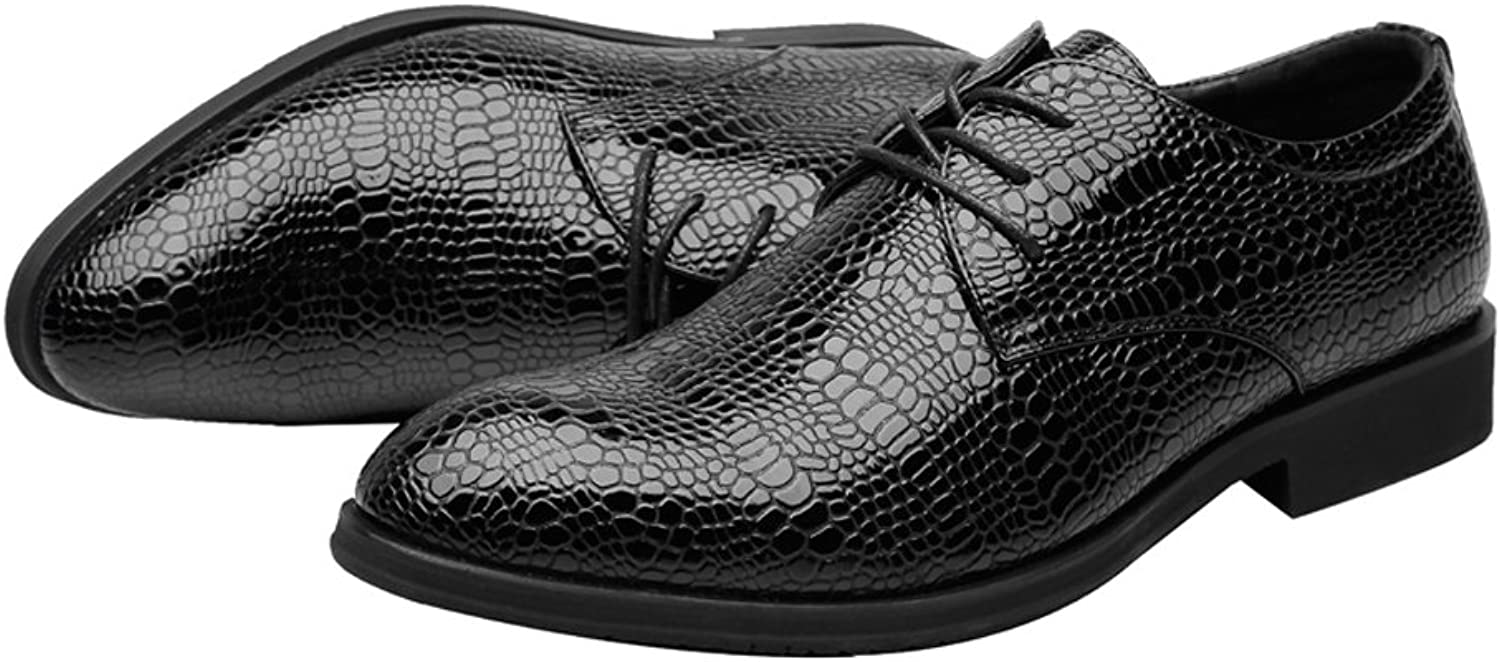 QianHaoQJu Fashion Lace Up Men's PU Leather shoes Crocodile Skin Texture Upper Breathable Business Lined Oxfords