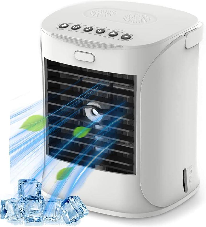 WELTEAYO Mini Enfriador Portátil USB Aire Acondicionado con 4 en 1 Ventilador Purificador Humidificador Luces Nocturnas de 7 Colores, 3 Velocidades Ajustable y Gran Capacidad de