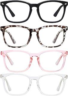 SIPU 4 Pack Blue Light Blocking Glasses Fashion Square Nerd Eyeglasses for Women Men Anti Blue Ray Computer Game Glasses N...