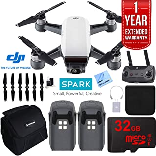 DJI Spark Intelligent Quadcopter Drone Essentials Bundle (Alpine White) Spare Battery, Cleaning Kit, 32GB High Speed Card, Custom Case and One Year Warranty Extension