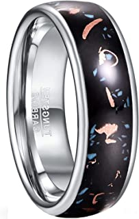 GALANI Silver Tungsten Carbide Ring 8mm Women's/Men's Wedding Engagement Promise Band Ring with Copper Scrap Inlay Comfort...