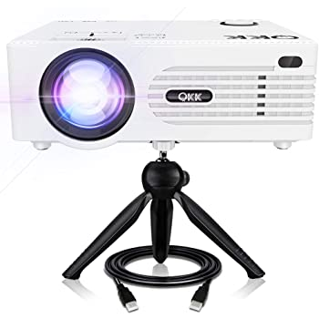 "QKK 5000Lux Mini Projector for Outdoor Movies [Tripod Included], 200"" Display Full HD 1080P Supported Portable Outdoor Movie Projector, Compatible with TV Stick, PS4, HDMI, AV, Dual USB"