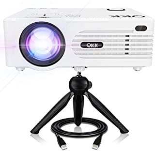 """QKK [2019 Upgrade] Mini Projector [with Tripod] LED Projector Full HD 1080P Supported, 170"""" Display for TV Stick, Video Game, Blue Ray DVD Player, Smartphone Home Theater Entertainment, Dual USB Port"""