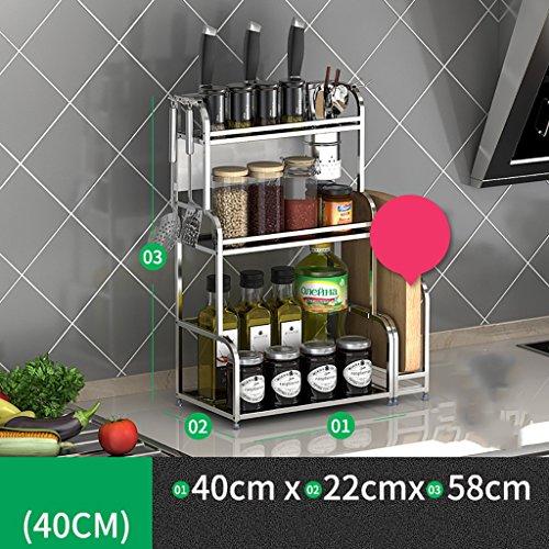 Porte-épices Étagère de cuisine en acier inoxydable étagère de cuisine étagère étagère étagère étagère porte-outils 3 étages (taille : 40 cm)