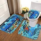 Bureze Juego de alfombras de baño con diseño de delfín océano y Tapas para Inodoro, Juego de Alfombrillas de baño