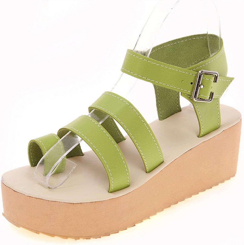 AN Womens Buckle Platform Full-Sole Urethane Flats Sandals DIU00581