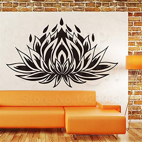 Muur Woorden Zeggen Verwijderbare Lettering Home Decor Religie Lotus Kleurrijke Huis Decoratie Yoga Plant Decals in Familie Kamers 35.1x23.4 inches
