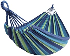 """Double Hammock Max 330 lbs Extra Long Camping Hammock with Tree Straps,78.7"""" X 59"""" Soft Woven Cotton with Capacity Portable 2 Person Hammock for Indoor Outdoor Backpacking Beach Backyard Hiking"""