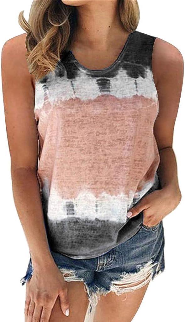 AODONG Womens Tank Tops, Womens Casual Summer Vest Tank Top Fashion Gradient Printed Tshirt Sleeveless Blouse Tunic Tee