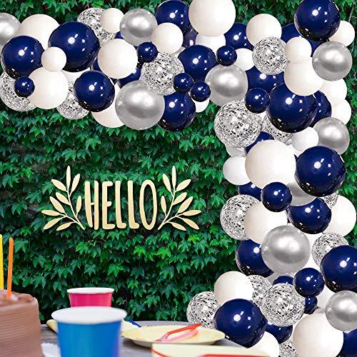 Luftballons Blau Weiß Silber,Aivatoba 114 Luftballons Girlande mit Konfetti Luftballons Ballongirlande Deko Geburtstag für Jungen Männer Dekoration, Babyparty, Hochzeit, Geschlecht Offenbaren