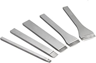 Aisaker 5PCS Leather Slot Punch Set DIY Hand Work Tool Leather Craft Belt Wallet Leather Bells Metal Slot Straight Punch Cutter Set 5mm/10mm/16mm/20mm/25mm
