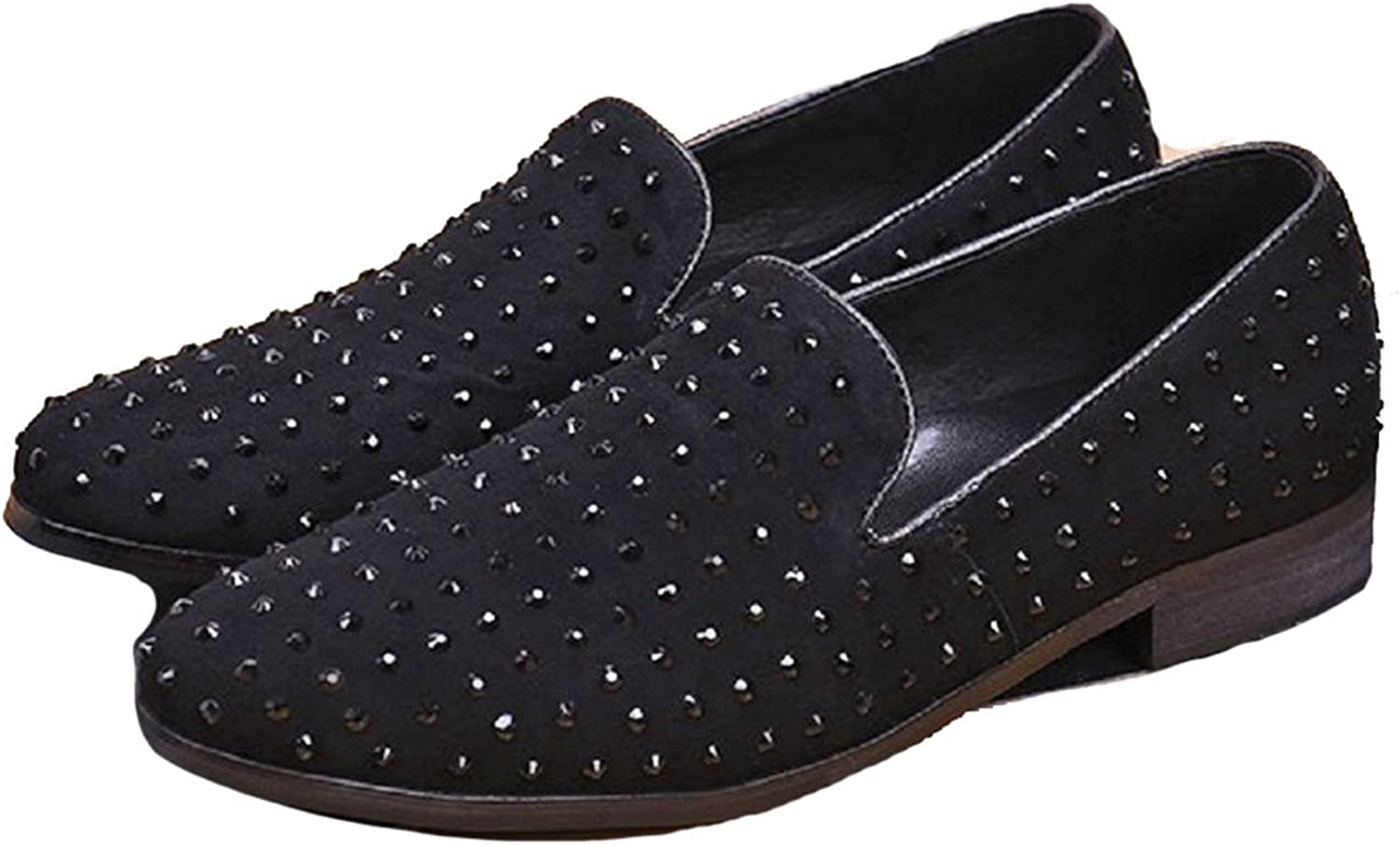 Cover Plus New Fashion Studded Rhinestone Leather Mens Slip On Casual Dress Suit Loafers shoes